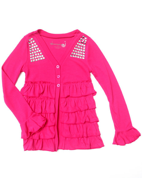 La Galleria Girls Pink Ruffle Cardigan (4-6X)