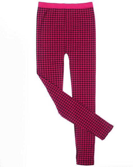 La Galleria Girls Houndstooth Print Leggings (7-16) Pink