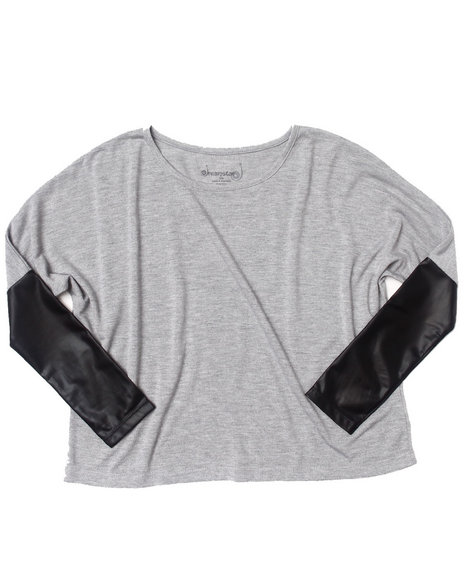 La Galleria Girls Light Grey Dolman Top W/ Faux Leather Trim (7-16)