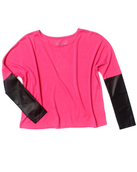 La Galleria Girls Pink Dolman Top W/ Faux Leather Trim (7-16)
