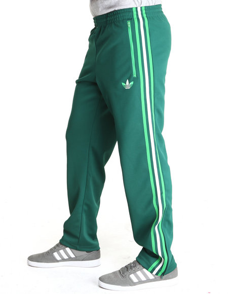Adidas - Men Green Split Stripe Firebird Track Pants