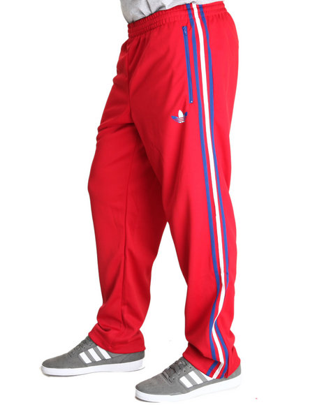 Adidas - Men Red Split Stripe Firebird Track Pants