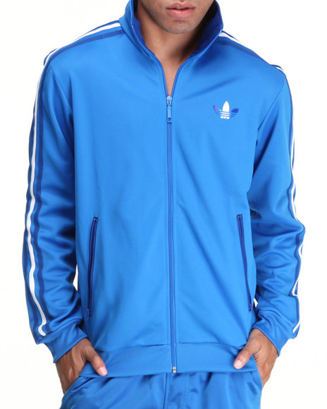 Adidas - Men Blue Split Stripe Firebird Track Jacket