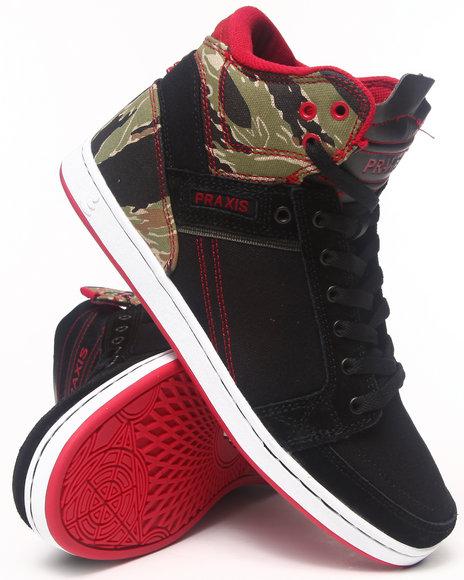 Praxis Footwear Black Balance Tiger Camo Suede Sneakers