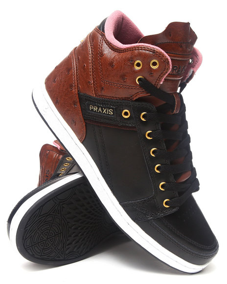 Praxis Footwear Brown Balance Faux Ostrich Sneakers