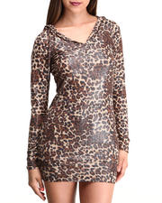Apple Bottoms - Liquid Animal Printed Hoodie Dress