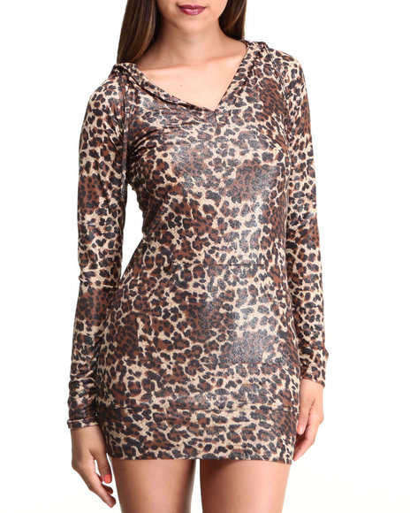 Apple Bottoms - Women Animal Print Liquid Animal Printed Hoodie Dress