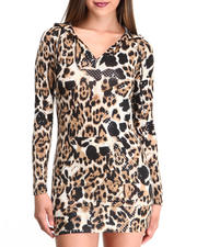 Apple Bottoms - Liquid Leopard Printed Hoodie Dress