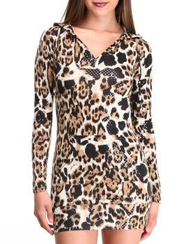 Apple Bottoms - Liquid Leopard Printed Hoodie Dress