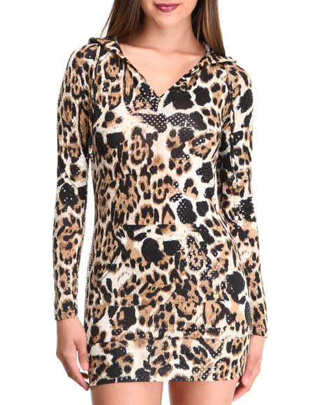 Apple Bottoms - Women Animal Print Liquid Leopard Printed Hoodie Dress