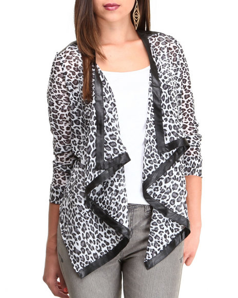 Fashion Lab - Women Black Animal Print Chiffon Blazer - $15.99