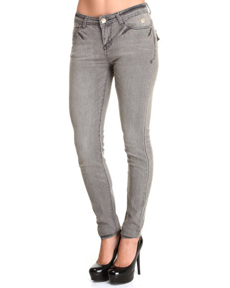 Apple Bottoms - Women Grey Apple Flap Pocket Skinny Jean
