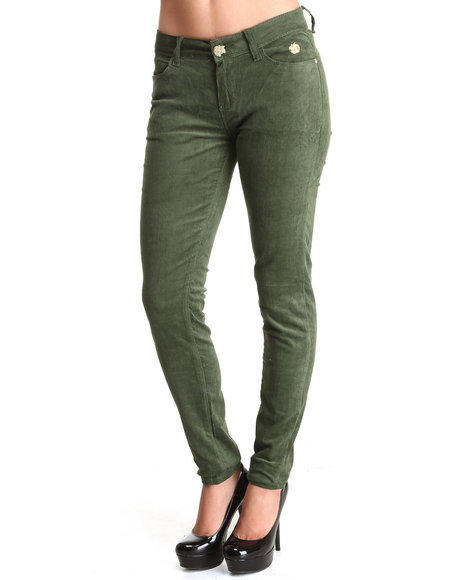 Apple Bottoms - Women Olive Skinny Corduroy Jean