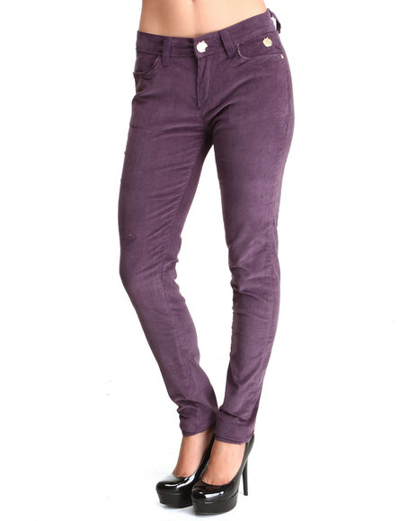 Apple Bottoms - Women Purple Skinny Corduroy Jean