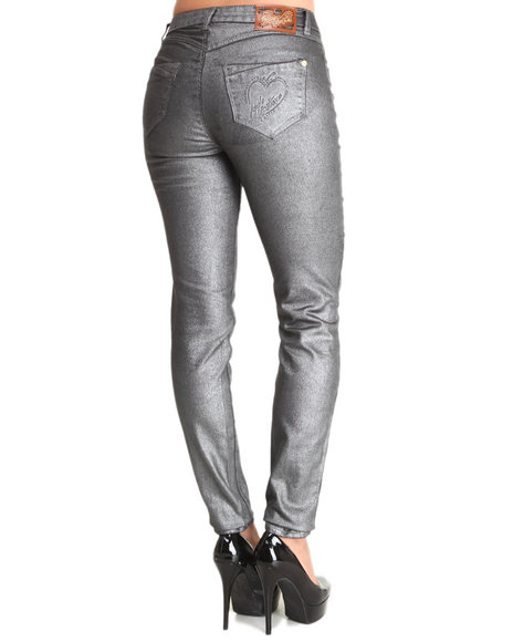 Apple Bottoms - Women Charcoal Metallic Finish Skinny Jean
