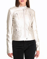 Outerwear - Metallic Vegan Leather Moto Jacket