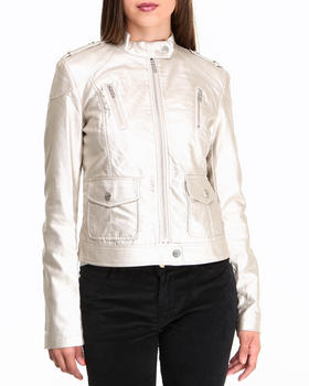 Kenneth Cole - Metallic Vegan Leather Moto Jacket
