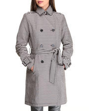 Outerwear - Stripes Printed Trench Jacket