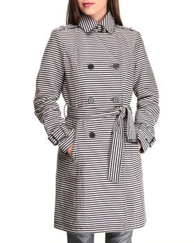 Kenneth Cole - Stripes Printed Trench Jacket