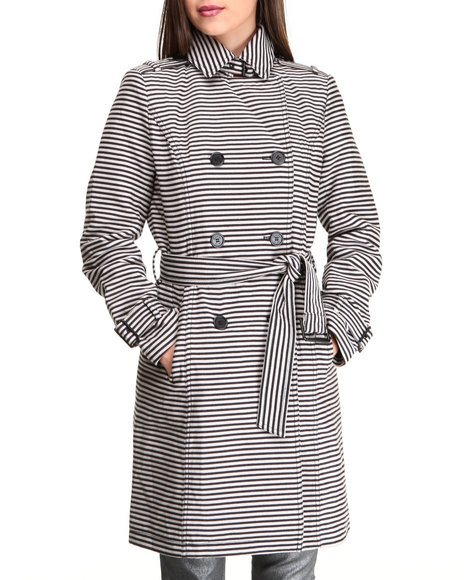 Kenneth Cole Black Stripes Printed Trench Jacket
