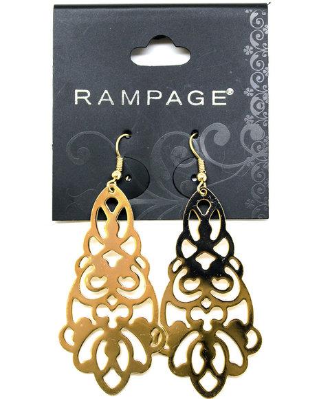 Rampage Dangling Lace Earrings Gold