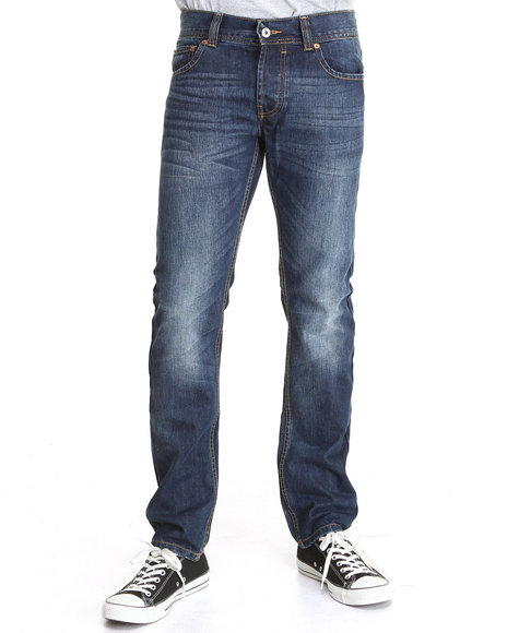 Bellfield - Men Dark Wash Vintage Wash Slim Fit Denim Jeans