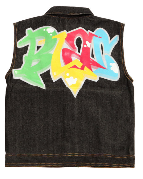 Blac Label Boys Black Graffiti Denim Vest (8-20)