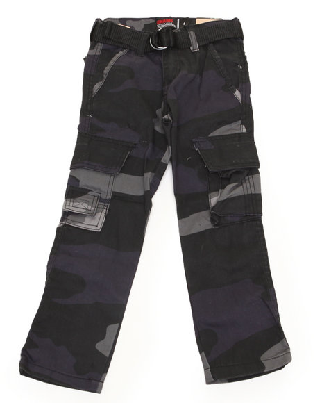 Arcade Styles Boys Black,Camo Belted Camo Twill Cargo Pant (4-7)