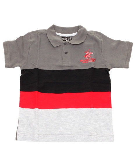 Arcade Styles - Boys Grey Color Blocked Cut & Sew Polo (4-7)