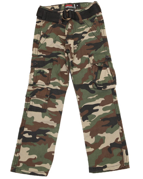 Arcade Styles Boys Camo Belted Camo Twill Cargo Pant (2T-4T)