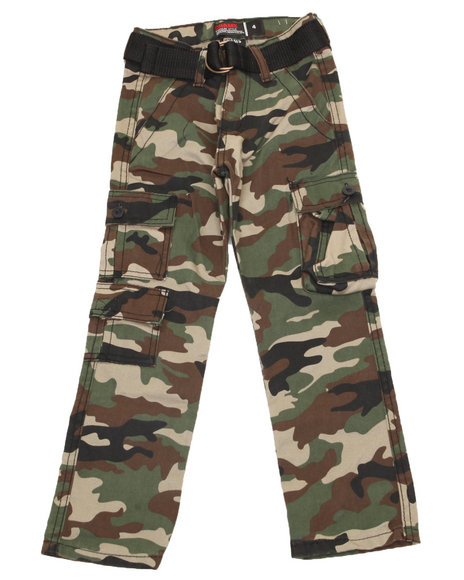 Arcade Styles Boys Camo Belted Camo Twill Cargo Pant (4-7)