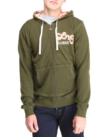 Lrg - Men Olive Naturalist Zip-Up Hoodie