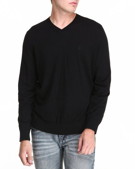 Nautica - Men Black Solid Modal V-Neck Sweater