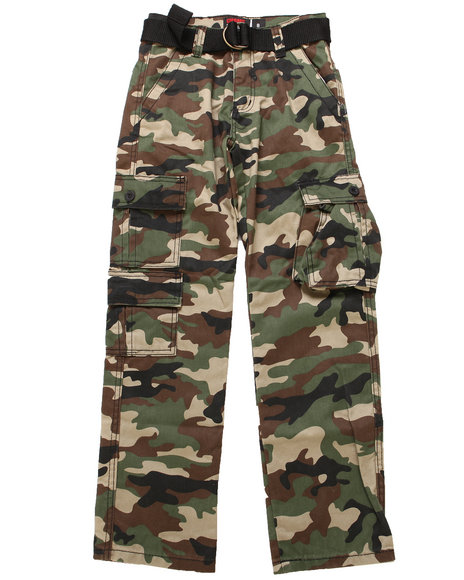 Arcade Styles Boys Camo Belted Camo Twill Cargo Pant (8-20)