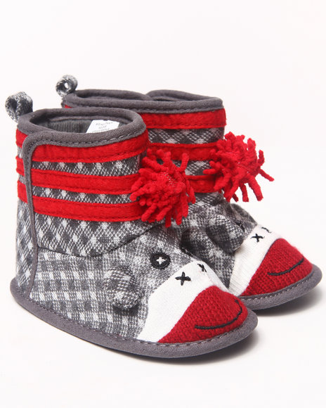 La Galleria Girls Grey Sock Monkey Bootie (Newborn)