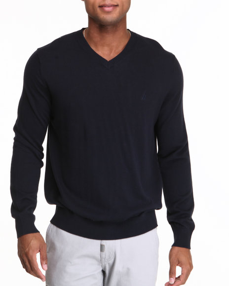 Nautica Navy Solid Modal V-Neck Sweater