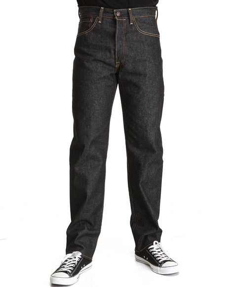 Levi's - Men Black 501 Shrink-To-Fit Straight Fit Black Rigid Jeans