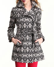 Women - Aztec Print Mid Length Jacket