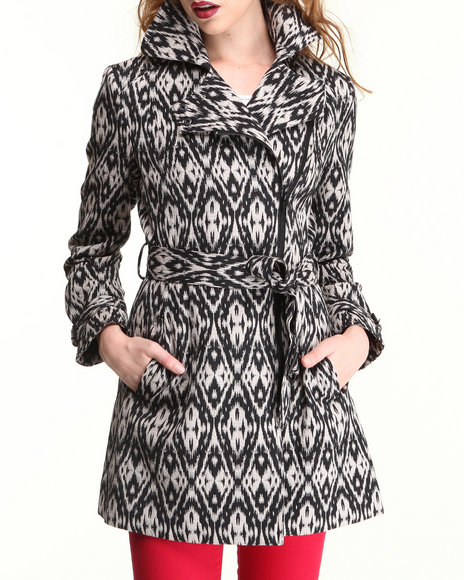 Kenneth Cole - Women Black Aztec Print Mid Length Jacket