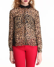 Women - Chiffon Animal Print Top w/hardware