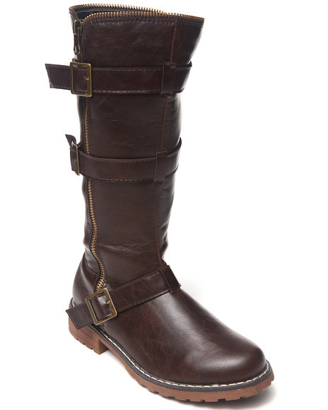 Kensie Girl Girls Brown Moto Boot (12-4)