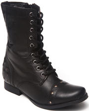 Footwear - Studded Leather Lace Up Military Boot