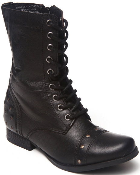 Naughty Monkey - Women Black Studded Leather Lace Up Military Boot