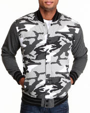 Outerwear - Camo Fleece Varsity Jacket