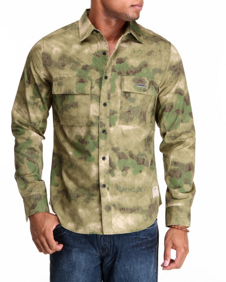 Crooks & Castles - Men Camo Voleur Military L/S Button-Down