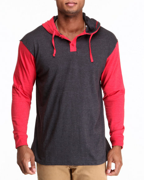 Buyers Picks - Men Red Heathered Henley Neck Pull Over Hoody