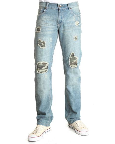 Buyers Picks - Men Light Wash Camo Rips Denim Jeans