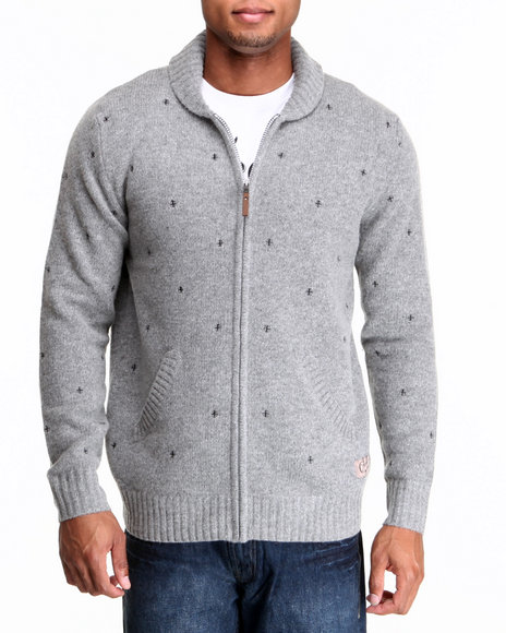 Crooks & Castles - Men Grey Long Range Shawl Sweater