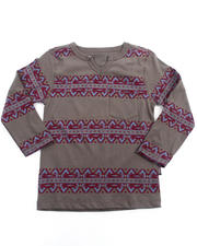 Sizes 4-7x - Kids - ROLL SLEEVE AZTEC TOP (4-7)