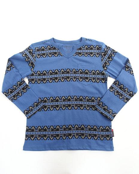 Arcade Styles - Boys Blue Roll Sleeve Aztec Top (8-20)
